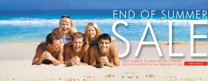 Last chance to save on 2015 tours. Book until 31st August, save from 35% to 50%.